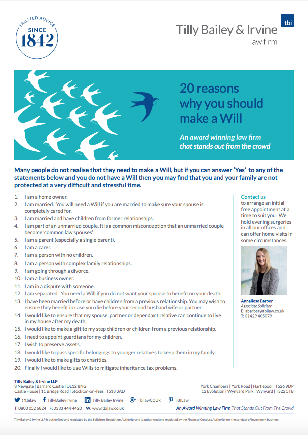 20 Reasons to Make a Will